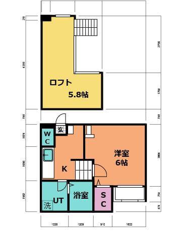お部屋の間取り図♪お部屋とキッチンの間に扉があるので脱走防止にもなります。