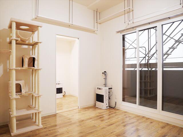 モデルルーム202号室の様子です。キャットタワーは見本となりますので、お好きな物をご購入ください。