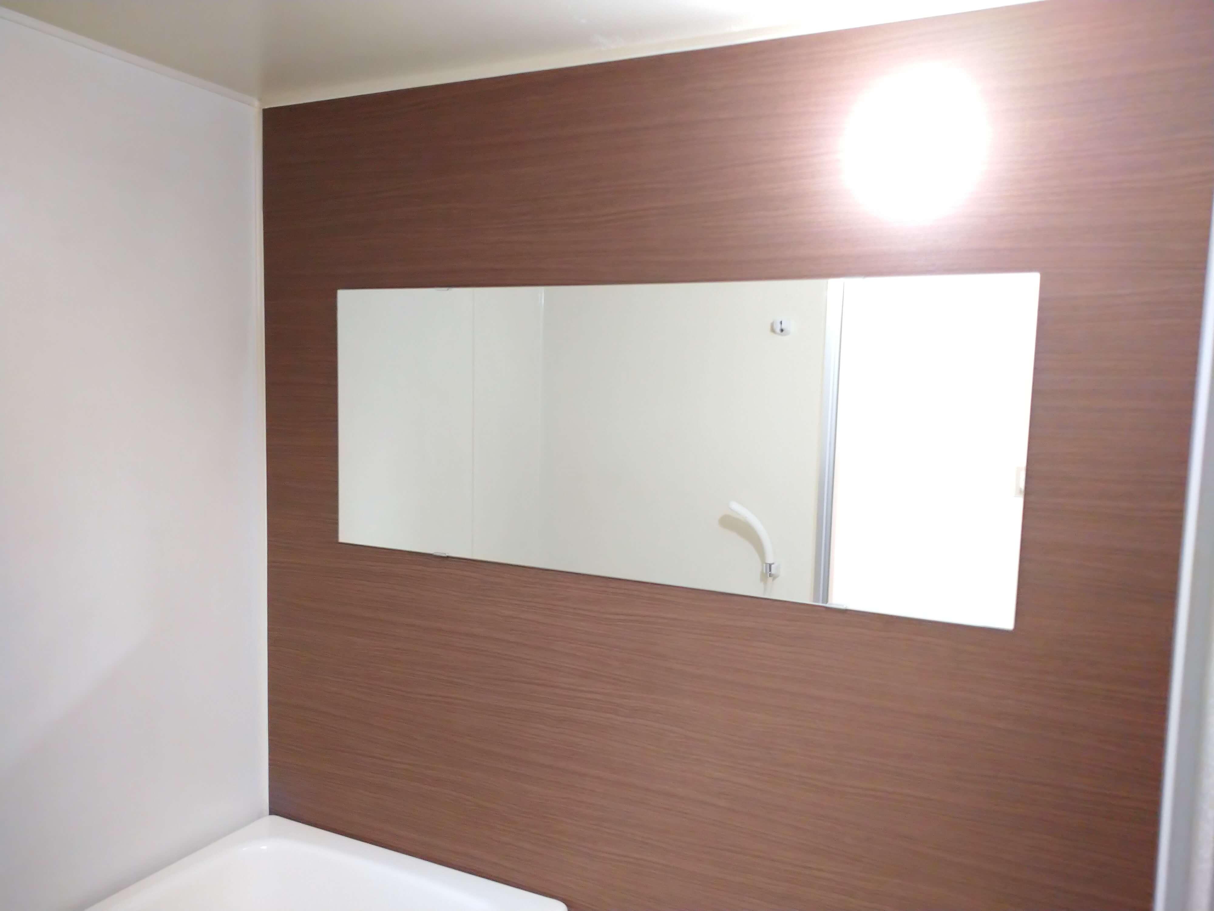 ★102号室の画像です。 浴室も綺麗にリノベーションされています。幅広ミラーつき。