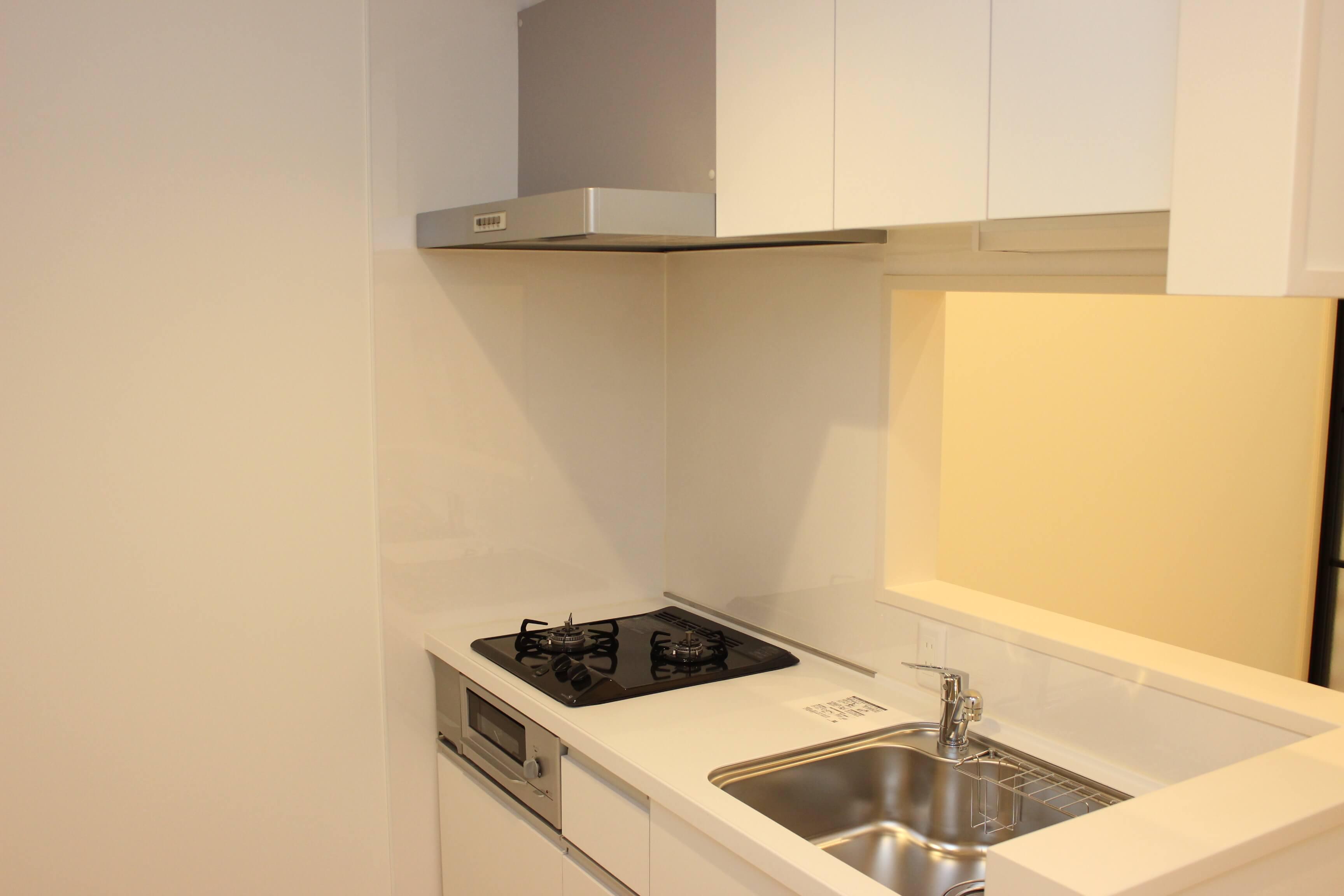 キッチン 2口コンロです。スイッチはつまみタイプです。ネコさんがうっかり押してしまうこともありません。