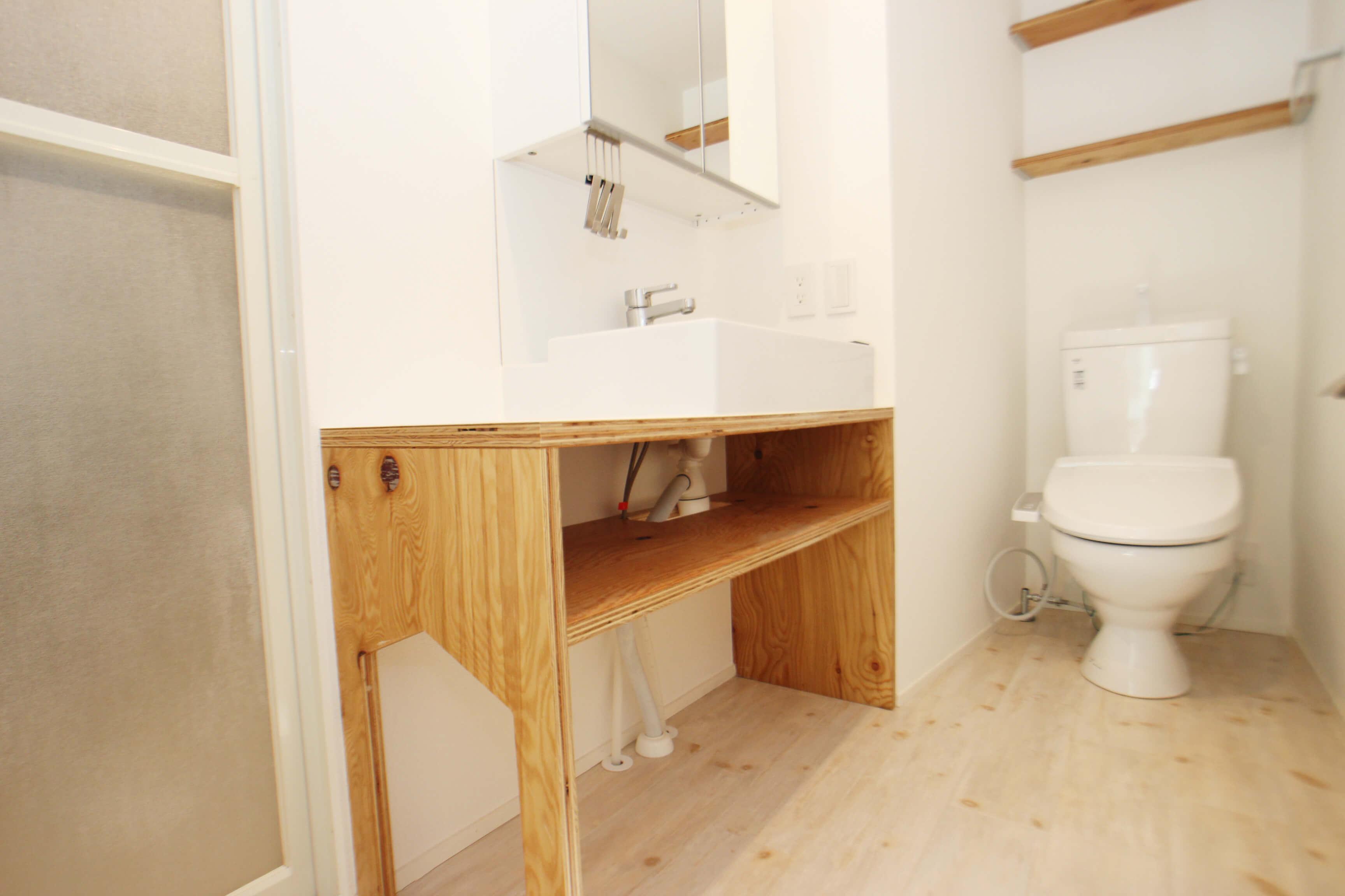 トイレ、独立洗面台です。 洗面台の下にネコトイレを置けます。