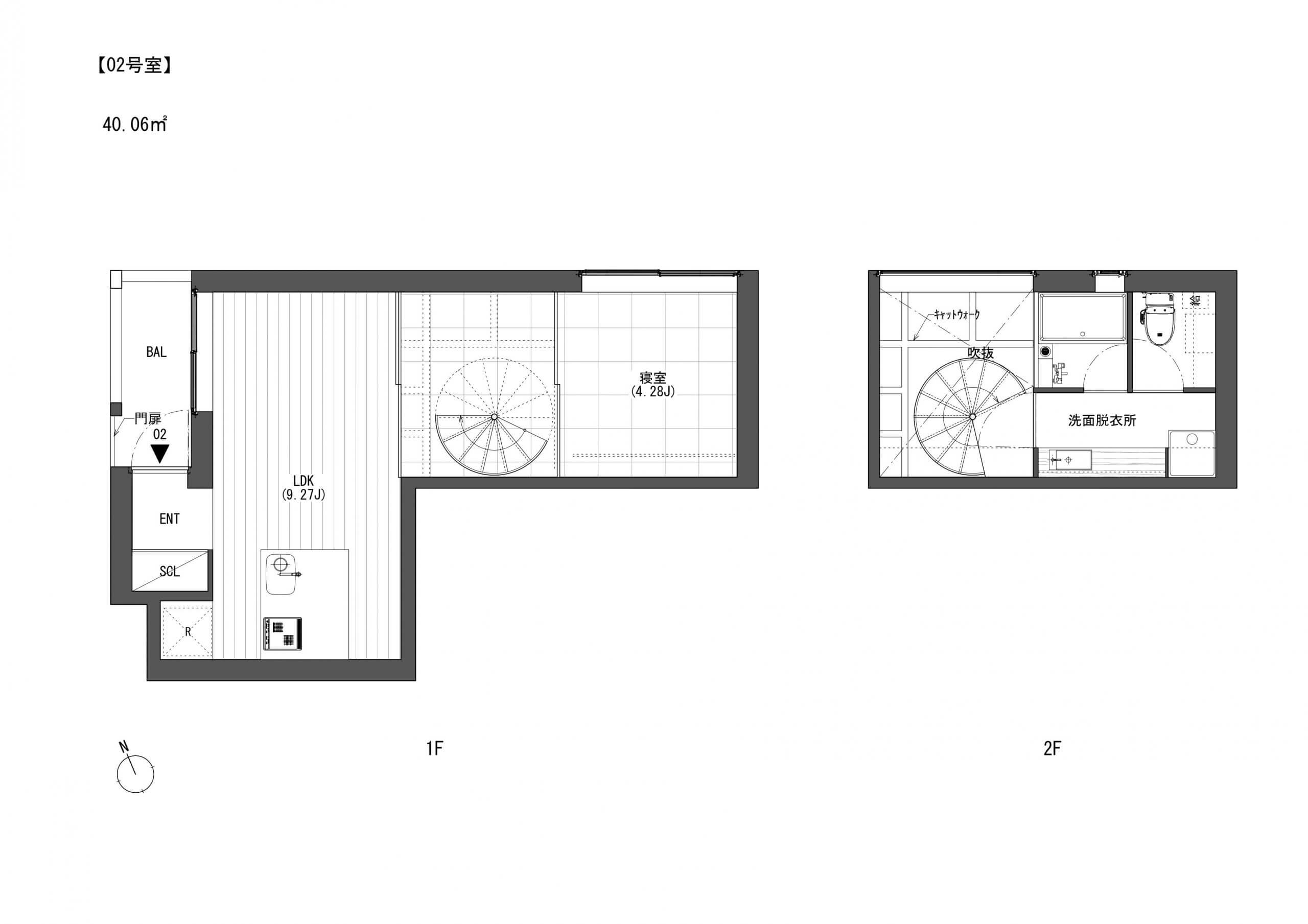 こちらは2号室 賃料165000円・共益費10000円です。玄関入ってリビングダイニングの向こうにガラスごしに螺旋階段とキャットステップが見えます。とにかく!おしゃれがすぎます・・・。上階はバスルームです。