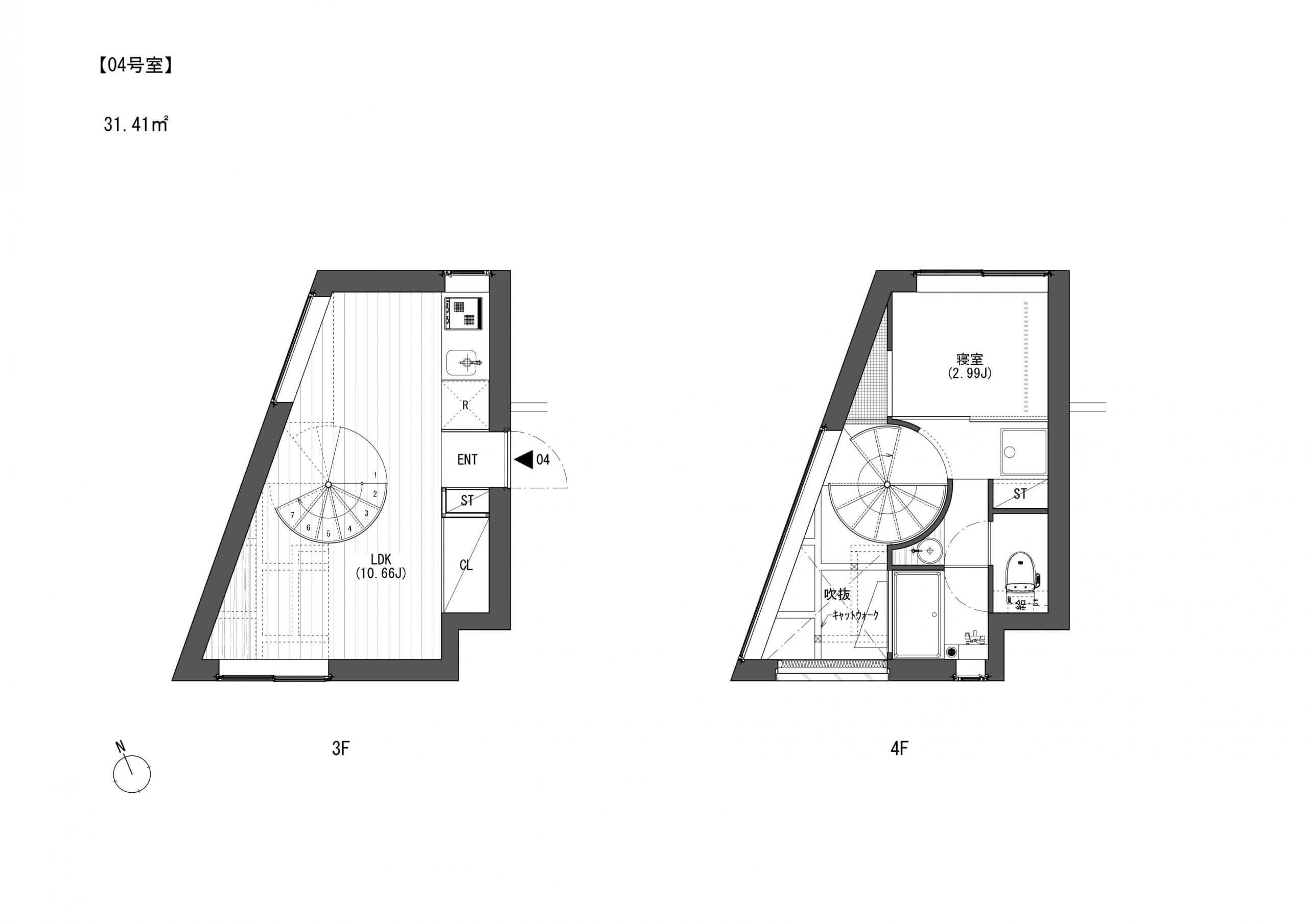 4号室は賃料155000円、共益費10000円です。 こちらはリビングど真ん中の螺旋階段!なんともおしゃれな作りです。キッチンとリビングを螺旋階段で分けるような感じでしょうか??生活動線の邪魔にはならないところが素晴らしいですにゃ。