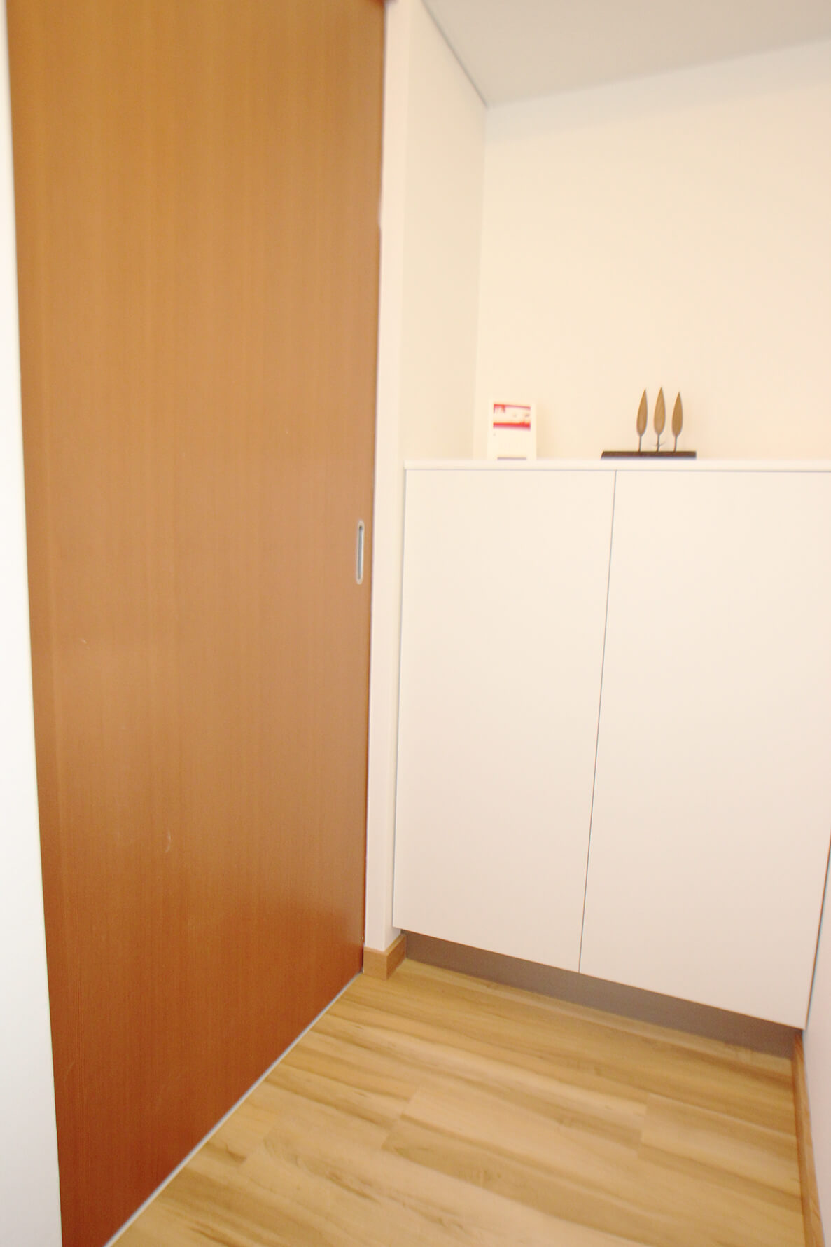 玄関と居室の間には引き戸があります。 こちらは脱走防止対策になりますにゃ。