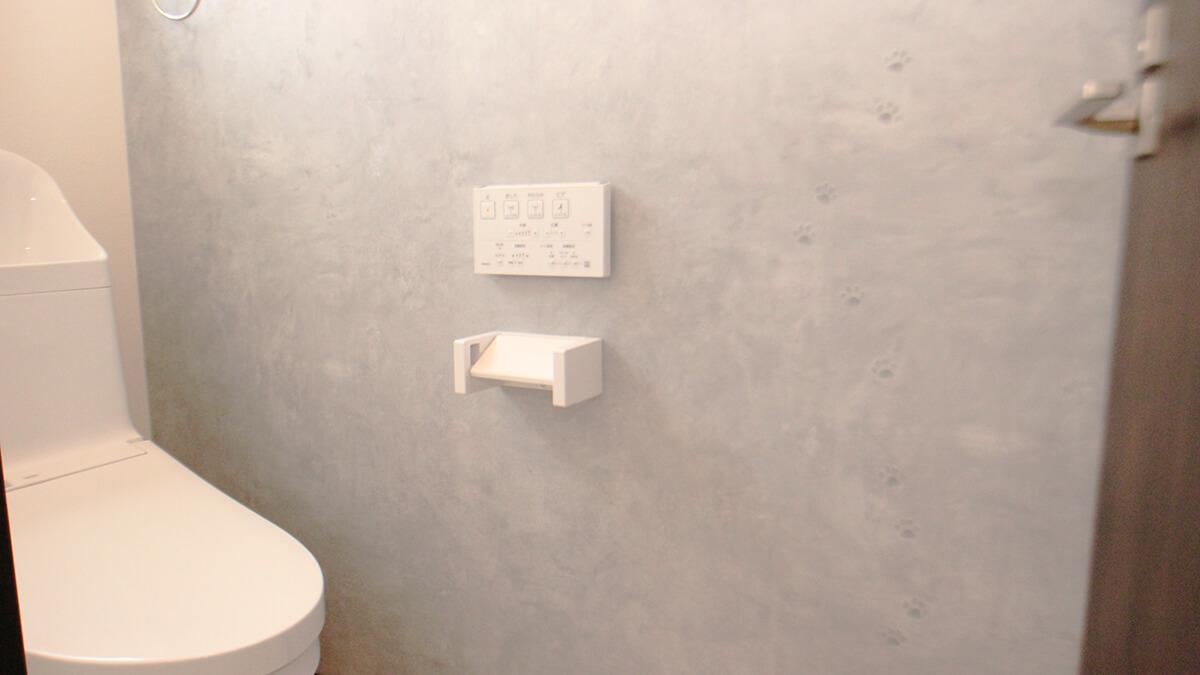 トイレの様子 クロスに猫さんの足跡が・・・こんなところもねこ好きさんをくすぐる仕様になっております。