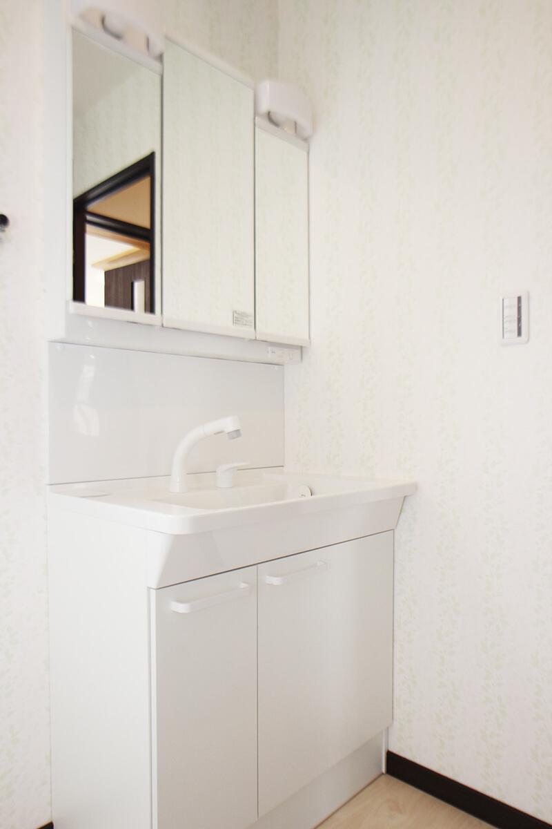 独立洗面台です。これはあると助かりますにゃ。隣は洗濯機置き場。この洗面スペースもかなり広めです。