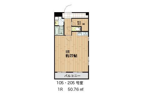 こちらは仕切りも一切ない広々タイプ 105号室 賃料100,000円       205号室   賃料103,000円       それぞれ共益費別途10,000円