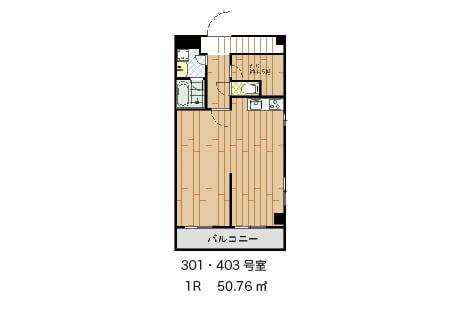 こちらは間仕切り壁あり      301号室 賃料103,000円     403号室   賃料105,000円       それぞれ共益費別途10,000円