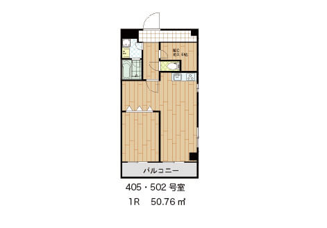 こちらは部屋になっている1DKタイプ 405号室   賃料105,000円      502号室   賃料110,000円       それぞれ共益費別途10,000円
