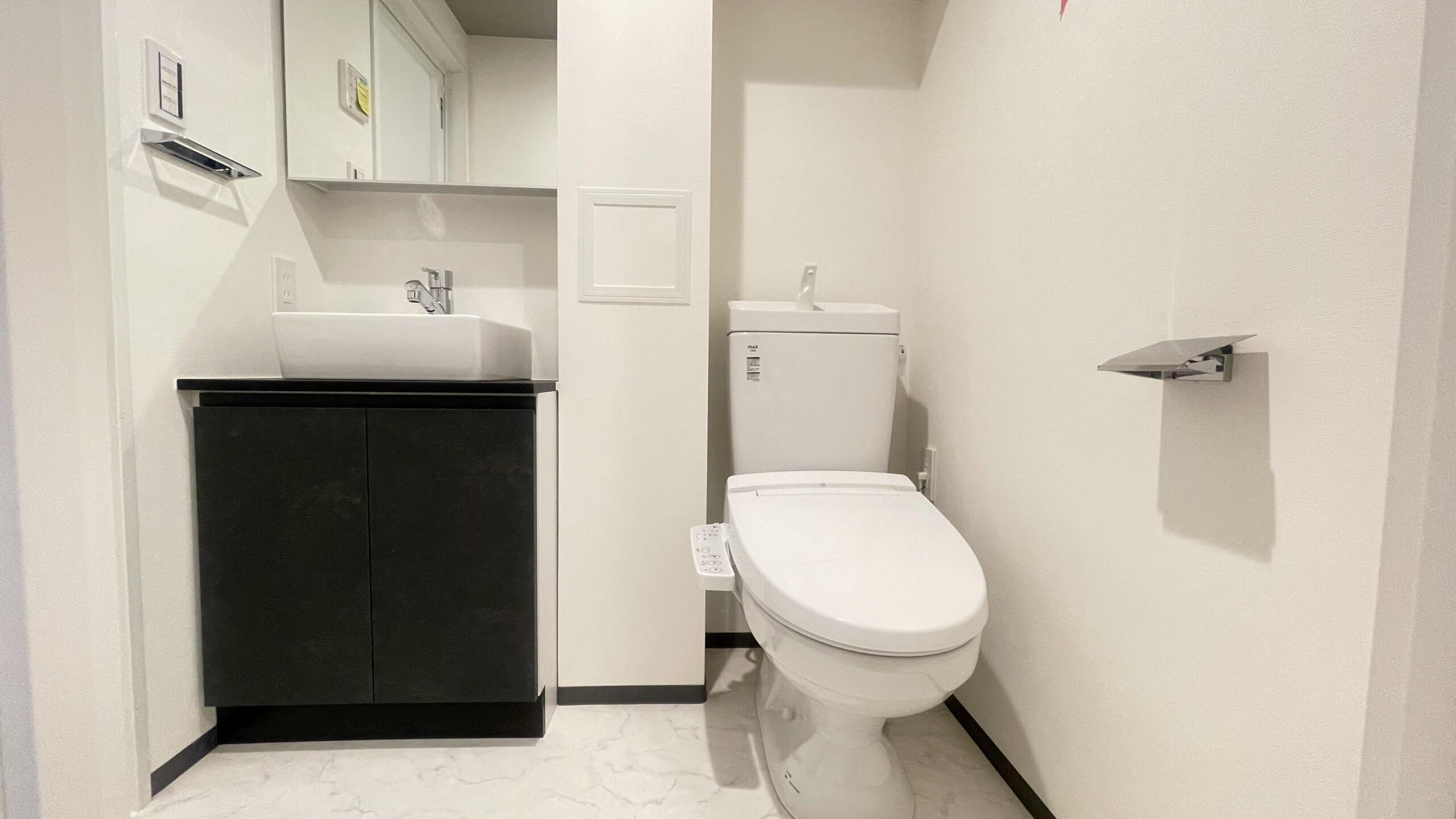 洗面とトイレが一緒になってるタイプ。 ありがたい独立洗面台!しかもおしゃれですにゃ。